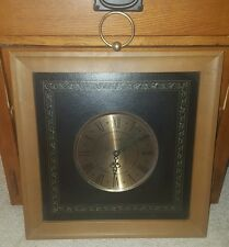 Vintage Wall Clock by Elgin Leather Edged Wood Frame 1960's & 1970s Rare Rare!!