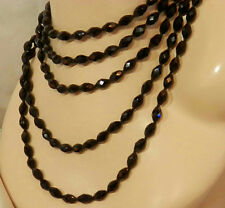 """FAB FAB FAB Sparkly Black Glass Vintage 20's Jet Glass 84"""" Flapper Necklace 50F7"""