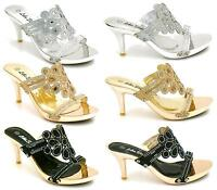 LADIES HIGH HEEL PLATFORM DIAMANTE FLOWER SLIP ON WEDDING PROM SANDALS SHOES