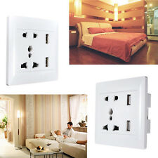 Dual USB Port Wall AC Power Socket Charger Station Outlet Adapter Plate