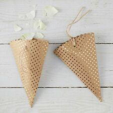 Ginger Ray pack of ten gold dotty confetti cones & twine ties for weddings etc