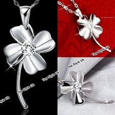 Shamrock Clover Heart Necklace Pendant Chain Jewellery Presents for Her Women C3