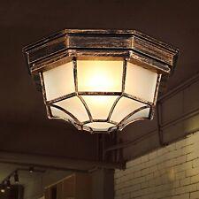 Fuloon Jahrgang Schmiede Eisen Deckenlampe Glas Flush Befestigung Kuppel Licht