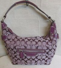 COACH F14690 PENELOPE SIGNATURE C PATENT LEATHER HOBO PURPLE PLUM PURSE