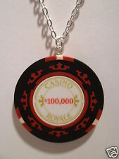 "007 Casino Royale $100,000 Poker Chip Pendant With 18"" Silver Plated Necklace"