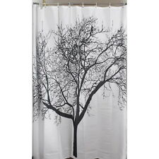 Stylish Black Scenery Tree Design Bathroom Waterproof Fabric Shower Curtain XC