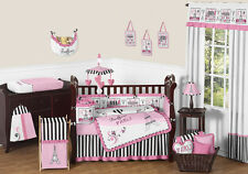 Sweet Jojo Designs Pink Black Paris France High End Girl Crib Baby Bedding Set