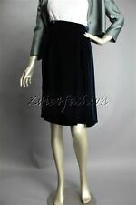 New with Tags PRADA Deep Blue Soft Velvet Pleat Pencil Skirt 4 38