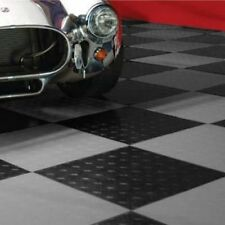 MotoFloor Modular Garage Flooring Black & Alloy 48-pack Durable Tiles