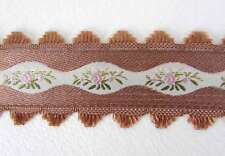 Vintage Trim Woven Jacquard Ribbon Pink Ivory Brown Flowers Leaves Scalloped