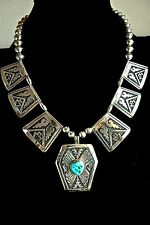 OLDER TOMMY SINGER KINGMAN TURQUOISE OVERLAY  NECKLACE STERLING EARLY SIGNATURES
