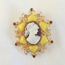 New Yellow Brown Vintage Style Crystal Hexagon Shape Cameo Brooch Pin Gift B1356