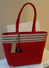 RADLEY 'Ferried' Large Red Cream Striped Leather Bag - New