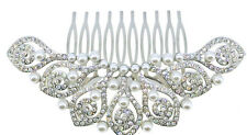 Beautiful Vintage Style Crystal & Pearl Bridal Silver Hair Comb.