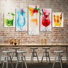 5x Wine Glass Hand-painted Art Oil Painting Bar Pub Home Wall Decor on Canvas