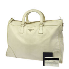 Authentic PRADA Logos Hand Bag Bufalo Day Bianco White Purse Vintage BT12316