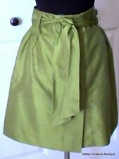 Magaschoni Collection Green Silk Lined Skirt A-Line Button Front Sash Size 6