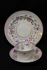 3 Pc Staffordshire Gaudy Pink Hand Painted Copper Lusterware Cup, Bowl & Plate