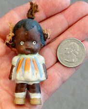 RACIST BLACK AMERICANA Vintage ANTIQUE China Bisque DOLL w/ HAIR RIBBONS Japan