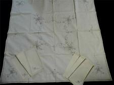 "Unused Vintage Dove Grey Embroidered Cream Tablecloth & Napkins 42""x 43"" Cot/Lin"