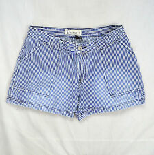 "White & Blue Engineer Pin Striped Denim HIPSTER Brand Casual Jean Shorts 30"" 5"