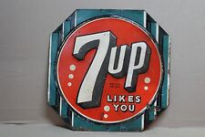 SCARCE 1942 7UP SODA POP EMBOSSED TIN METAL SIGN GENERAL STORE ART DECO COKE