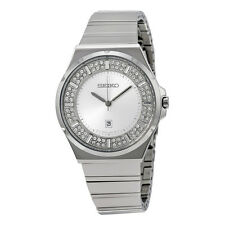 Seiko Silver Crystal-set Diial Stainless Steel Ladies Watch SXDF71