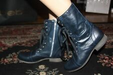 STEVE MADDEN TROOPA DENIM LEATHER ANKLE BOOT SIZE 6.5