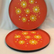Set of 2 Vintage Mid Century MOD Daisy Metal TV Trays Round 1960s Orange Yellow