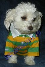 NEW  Pet Dog Puppy Clothes POLO CottonT-Shirt  Suit sz S orange/green