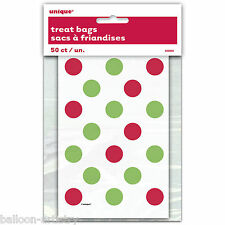 50 Christmas Party Festive Red Green Polka Dots Paper Loot Treat Bags