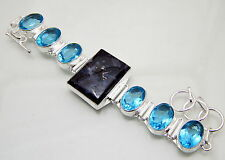 Brush Agate Blue Topaz GemStone 925 Sterling Silver Handmade Jewelry Bracelet