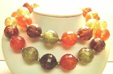 Vintage 50's Chunky Plastic Bead Necklace Green Orange Brown Multi 2 Strand