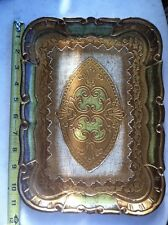 Vtg Gilt Italian Trinket Tray Dresser Organizer Green Gold Italy Hand Made Paint