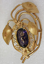 Antique Vintage Victorian Style Amethyst Glass Large Floral Brooch Pin 3""