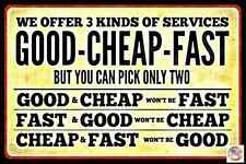 FAST SERVICE USA MADE METAL SIGN 8X12 FUNNY AUTO GARAGE SHOP BUSINESS OFFICE