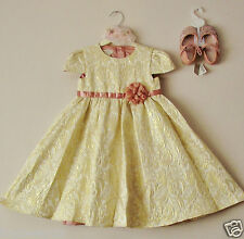 BNWT MONSOON BABY GIRLS GOLD FLORAL DUSKY PINK CORSAGE FLOWER PARTY DRESS 6-12 M