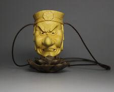 QH002 - 6*5.2*4 CM Hand Carved Boxwood carving Netsuke : Tengu Monste Devil Mask