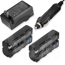 2x 7.2V Li-Ion Battery+Wall Car Charger for Sony NP-F570 NP-F550 NP-F530 NP-F330
