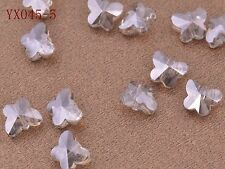 10pcs Charms Faceted Glass Crystal Butterfly Spacer Findings Loose Beads 10mm