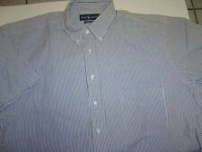 BIG MENS RALPH LAUREN BLACK-WHITE STRIPED SEERSUCKER COTTON S/S SHIRT SIZE 4XLT