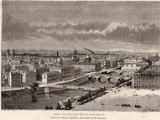 GRAVURE 1877 ENGRAVING PARIS VUE DE L EGLISE ST GERVAIS