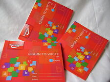 NEW 3 A5 LEARN TO WRITE NARROW LINE EXERCISE BOOKS HANDWRITING PRACTICE RED B4