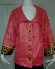 Berek Beaded Metallic Pink Linen Sequined Coral Pink Leopard Cocktail Jacket 1X