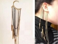 European Fashion Vintage Long Chains Tassel Rivet Ear Cuff Hook Earring 1pc