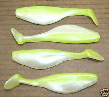 """4"""" Shad Paddle Tail Swimbait great for Umbrella Rig 40 cnt. bag Chartreuse White"""