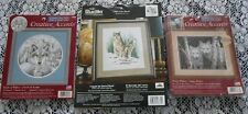 Lot  3 NIP Wolf-Wolves Counted Cross Stitch Kits~White Wolves~Call of the North+
