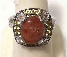 KARIS Sri Lankan Sunstone & Lab Yellow Sapphire Platinum Clad Cocktail Ring - Sz