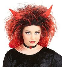 Girls Kids Chidren Red Black Devil Wig Horns Halloween Scary Demon Fancy Dress