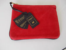 BALMAIN H&M small red suede black leather clutch bag purse